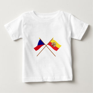 Czech and Prague Crossed Flags Baby T-Shirt