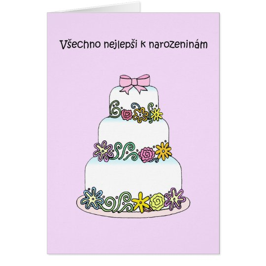 Czech Birthday Stylish Cake Card