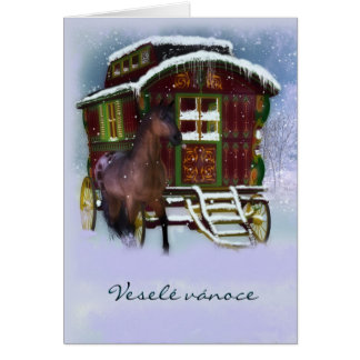 Czech Christmas Card - Horse And Old Caravan - Ves