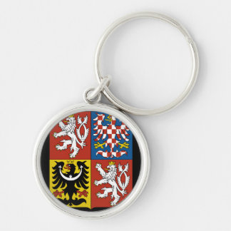 czech emblem Silver-Colored round keychain