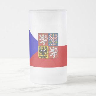Czech flag frosted glass beer mug