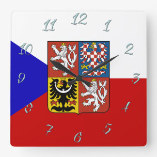 Czech flag square wall clock
