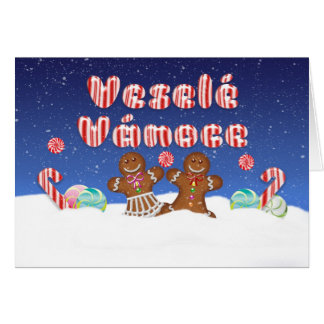 Czech Fun Christmas Card With Candy And Gingerbrea