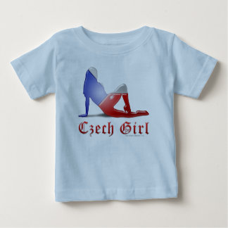 Czech Girl Silhouette Flag Baby T-Shirt