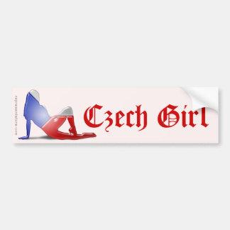 Czech Girl Silhouette Flag Bumper Sticker