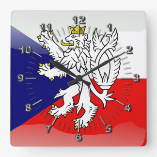 Czech glossy flag square wall clock