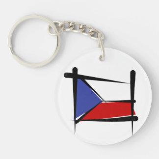Czech Republic Brush Flag Double-Sided Round Acrylic Keychain