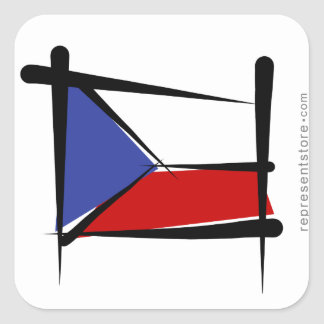 Czech Republic Brush Flag Square Sticker