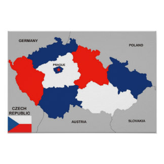 czech republic country political map flag poster