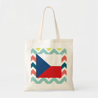 Czech Republic Flag Box on Colorful Chevron Tote Bag
