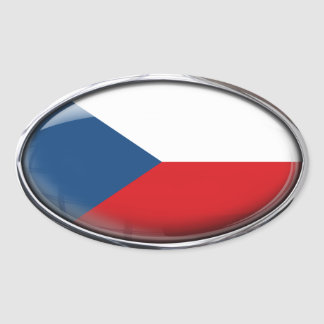 Czech Republic Flag Glass Oval Oval Sticker