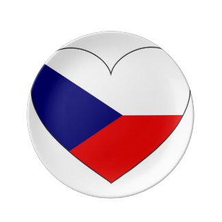 Czech Republic Flag Simple Porcelain Plates