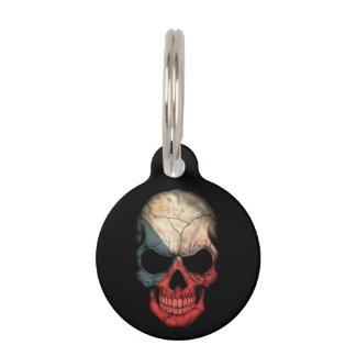 Czech Republic Flag Skull on Black Pet Tag