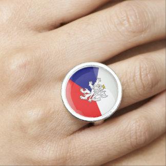 Czech Republic glossy flag Ring