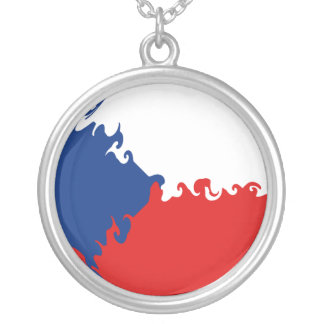 Czech Republic Gnarly Flag Round Pendant Necklace