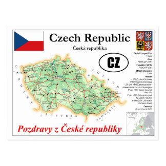 Czech Republic map Postcard
