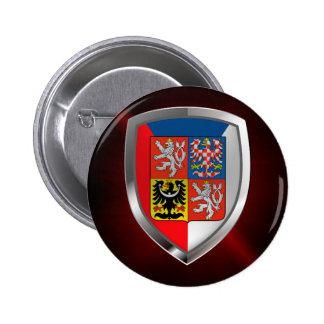 Czech Republic Metallic Emblem 2 Inch Round Button