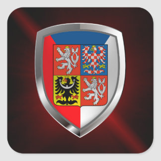 Czech Republic Metallic Emblem Square Sticker