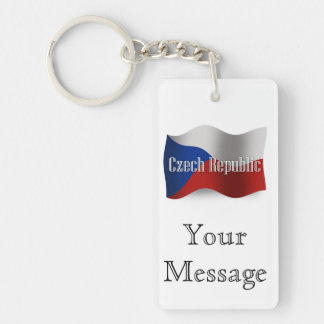 Czech Republic Waving Flag Double-Sided Rectangular Acrylic Keychain