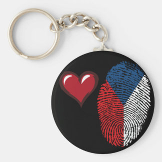 Czech touch fingerprint flag basic round button keychain