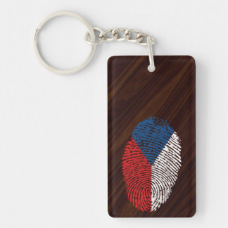 Czech touch fingerprint flag Double-Sided rectangular acrylic keychain
