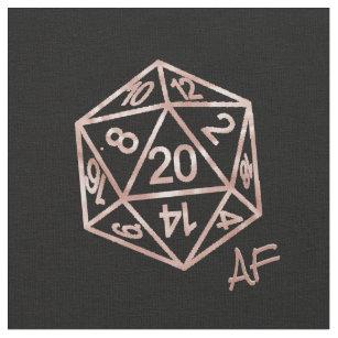D20 Crit AF   Rose Gold RPG Tabletop Gamer Dice Fabric