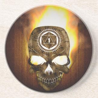 d20 Critical Fail Death Skull Coaster