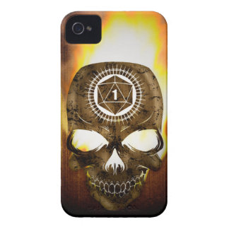 d20 Critical Fail Death Skull iPhone 4 Case-Mate Cases