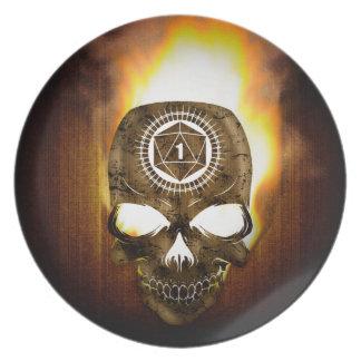 d20 Critical Fail Death Skull Plate