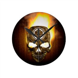 d20 Critical Fail Death Skull Round Clock