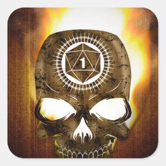d20 Critical Fail Death Skull Square Sticker