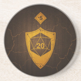 d20 Critical Save +5 Faux Leather Coaster