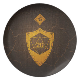 d20 Critical Save +5 Faux Leather Plate