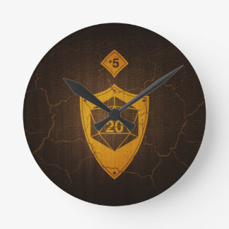 d20 Critical Save +5 Faux Leather Round Clock