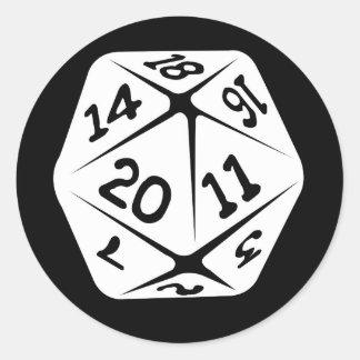 d20 geek swag classic round sticker