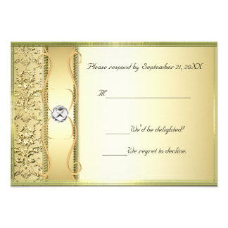 D2 Gold on Gold Damask RSVP Card Custom Announcements