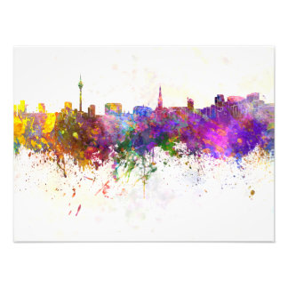D5usseldorf skyline in watercolor background photo print