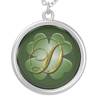 D Black Green Gold Monogram Initial Pendant D