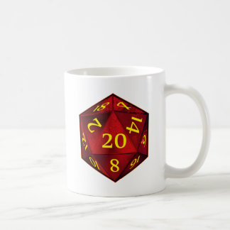D&D d20 Crimson and Gold FIRE die Coffee Mug