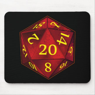 D&D d20 Crimson and Gold FIRE die Mouse Pad