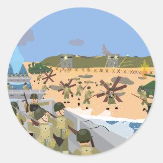 D-Day 1944 Omaha beach (Simple History) Round Sticker
