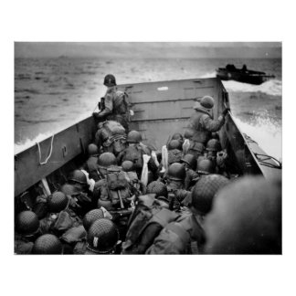 D-DAY Omaha Beach Landing Craft World War II Poster