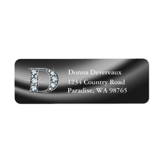 "D ""Diamond"" Bling Monogram Return Address Label"