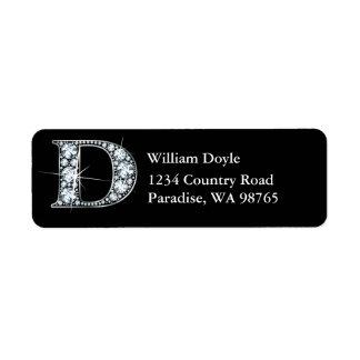 """""""D"""" Diamond Bling Monogram Return Address Label"""