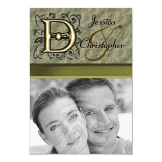 "D - Embossed Vintage Monogram (Gold) 3.5"" X 5"" Invitation Card"