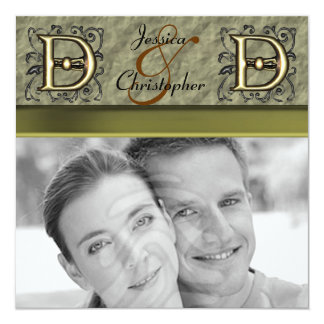 "D - Embossed Vintage Monogram (Gold) 5.25"" Square Invitation Card"