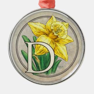 D for Daffodil Flower Monogram Round Prem Ornament