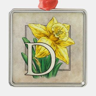 D for Daffodil Flower Monogram Square Ornament