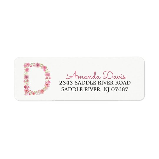 D Initial Floral Monogram  Return Address Label