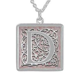 "D Initial Monogram ""Silver Stone"" Necklace"